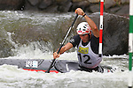 08.08.2015 La Seu d'Urgel, Lleida.ICF Canoe Slalom World Cup 4.  Picture show Ander Elosegi (ESP) in action during canoe single (C1) men final at Canal Olimpic