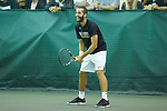 Petros Chrysochos of the Wake Forest Demon Deacons smiles during the finals of the 2018 NCAA Men's Tennis Singles Championship against teammate Borna Gojo (not pictured) at the Wake Forest Indoor Tennis Center on May 28, 2018 in Winston-Salem, North Carolina.  Petros Chrysochos defeated teammate Borna Gojo 6-3 6-3.  (Brian Westerholt/Sports On Film)