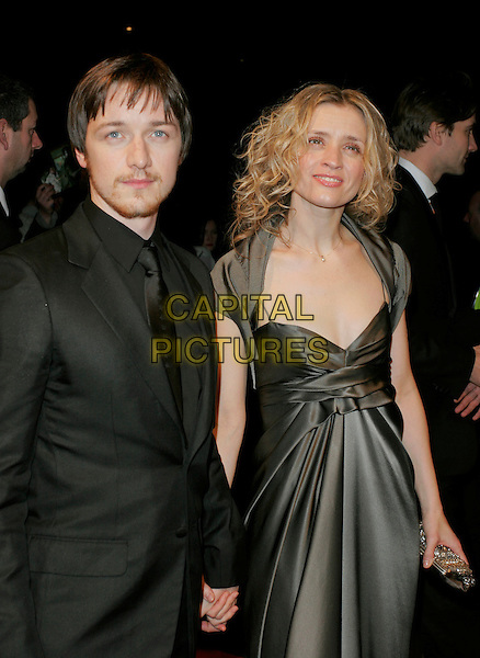 JAMES McAVOY & ANNE-MARIE DUFF.The Orange British Academy Film Awards (BAFTA's) aftershow, The Grosvenor House Hotel, London, UK..February 11th, 2007.half length grey gray dress anne marie black suit jacket couple.CAP/AH.©Adam Houghton/Capital Pictures