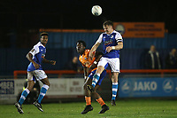 Josh Granite of Barrow heads clear during Braintree Town vs Barrow, Vanarama National League Football at the IronmongeryDirect Stadium on 1st December 2018