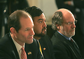 Governor Eliot Spitzer (Democrat of New York), left, Governor Bill Richardson (Democrat of New Mexico), center, and Governor Jon Corzine (Democrat of New Jersey), right listen as United States President George W. Bush addresses the National Governors Association in the State Dining Room of the White House in Washington, DC on February 25, 2008, <br /> Credit: Dennis Brack - Pool via CNP