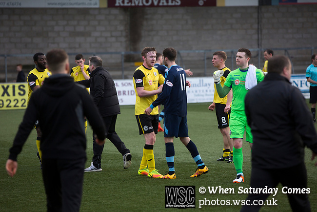 Forfar Athletic 1 Edinburgh City 2, 02/02/2017. Station Park, SPFL League 2. Winning goal scorer Lewis Allan shakes hands with an opponent on the pitch at Station Park, Forfar after the SPFL League 2 fixture between Forfar Athletic and Edinburgh City (in yellow). It was the club's sixth and final meeting of City's inaugural season since promotion from the Lowland League the previous season. City came from behind to win this match 2-1, watched by a crowd of 446. Photo by Colin McPherson.