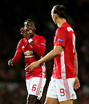 Paul Pogba of Manchester United houts instructions to Zlatan Ibrahimovic during the UEFA Europa League match at Old Trafford Stadium, Manchester. Picture date: September 29th, 2016. Pic Matt McNulty/Sportimage