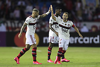 BARRANQUILLA, COLOMBIA - MARCH 04: Flamengo Everton Augusto de Barros Ribeiro  from Flamengo (R) celebrate after scoring during the group A match of Copa CONMEBOL Libertadores between Junior and Flamengo at Estadio Metropolitano on March 4, 2020 in Barranquilla, Colombia. (Photo by Daniel Munoz/VIEW press via Getty Images)