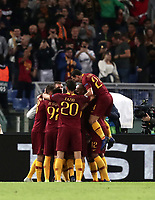 Football Soccer: UEFA Champions League  AS Roma vs PFC CSKA Mosca Stadio Olimpico Rome, Italy, October 23, 2018. <br /> Roma's Edin Dzeko celebrates after scoring with his teammates during the Uefa Champions League football soccer match between AS Roma and PFC CSKA Mosca at Rome's Olympic stadium, October 23, 2018.<br /> UPDATE IMAGES PRESS/Isabella Bonotto