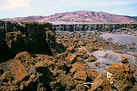 Rock formations around the former Siwi Lake at the foot of Yasur Volcano, Tanna Island, Vanuatu.