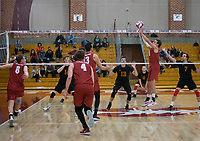 STANFORD, CA - December 30, 2017: Russell Dervay, Kevin Rakestraw, Eric Beatty, Leo Henken, Evan Enriques at Burnham Pavilion. The Stanford Cardinal defeated the Calgary Dinos 3-1.