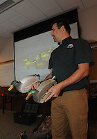 NWA Democrat-Gazette/FLIP PUTTHOFF <br /> Steve Dunlap with the Arkansas Game and Fish Commission shares duck hunting tips during his presentation Feb. 7, 2016 at Hobbs State Park-Conservation Area.