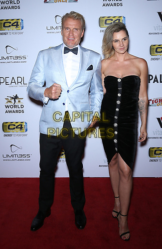 03 July 2019 - Las Vegas, NV - Dolph Lundgren, Jenny Sandersson. 11th Annual Fighters Only World MMA Awards Arrivals at Palms Casino Resort. <br /> CAP/ADM/MJT<br /> © MJT/ADM/Capital Pictures