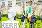 Easter Rising ceremony - Formal raising of the National Flag at Páirc An Phiarsaigh, Denny Street, Tralee by Mayor Thomas McEllistrim on Sunday. Pictured with Kerry council Foreman Murty Quirke
