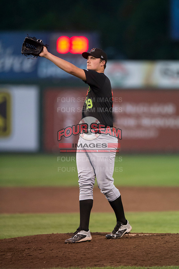 Great Falls Voyagers relief pitcher Chris Comito (19) waits to receive the ball back from the catcher during a Pioneer League game against the Idaho Falls Chukars at Melaleuca Field on August 18, 2018 in Idaho Falls, Idaho. The Idaho Falls Chukars defeated the Great Falls Voyagers by a score of 6-5. (Zachary Lucy/Four Seam Images)