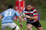 Jono Owen charges towards Northland defender Adam Clarke. ITM Cup rugby game between Counties Manukau Steelers and Northland, played at Bayer Growers Stadium, Pukekohe, on Sunday September 26th 2010..The Counties Manukau Steelers won 40 - 24 after leading 27 - 7 at halftime.