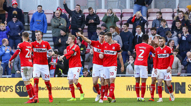 Middlesbrough players celebrate after taking the lead<br /> <br /> Photographer Alex Dodd/CameraSport<br /> <br /> The EFL Sky Bet Championship - Middlesbrough v Leeds United - Saturday 9th February 2019 - Riverside Stadium - Middlesbrough<br /> <br /> World Copyright © 2019 CameraSport. All rights reserved. 43 Linden Ave. Countesthorpe. Leicester. England. LE8 5PG - Tel: +44 (0) 116 277 4147 - admin@camerasport.com - www.camerasport.com