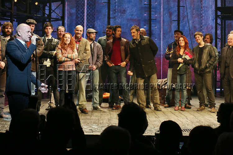 Sting with the cast during the Broadway Opening Night Performance Curtain Call for 'The Last Ship' at the Neil Simon Theatre on October 26, 2014 in New York City.