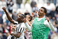 Calcio, Serie A: Juventus vs Carpi. Torino, Juventus Stadium, 1 maggio 2016.<br /> Juventus' players, from left, Gianluigi Buffon, Paul Pogba and Mario Lemina greet fans at the end of the Italian Serie A football match between Juventus and Carpi at Turin's Juventus Stadium, 1 May 2016. Juventus won 2-0.<br /> UPDATE IMAGES PRESS/Isabella Bonotto