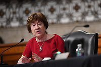 United States Senator Susan Collins (Republican of Maine), of the Senate Health, Education, Labor and Pensions (HELP) Committee, asks questions during a hearing on Capitol Hill in Washington DC on Tuesday, June 30, 2020.  Dr. Anthony Fauci, director of the National Institute for Allergy and Infectious Diseases, and other government health officials updated the Senate on how to safely get back to school and the workplace during the COVID-19 pandemic.<br /> Credit: Kevin Dietsch / Pool via CNP /MediaPunch
