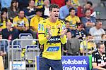 Rhein Neckar Loewe Andy Schmid (Nr.2) applaudiert / ruft beim Spiel in der Handball Bundesliga, Rhein Neckar Loewen - VfL Gummersbach.<br /> <br /> Foto &copy; PIX-Sportfotos *** Foto ist honorarpflichtig! *** Auf Anfrage in hoeherer Qualitaet/Aufloesung. Belegexemplar erbeten. Veroeffentlichung ausschliesslich fuer journalistisch-publizistische Zwecke. For editorial use only.