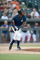 Center fielder Hansel Morteno (48) of the Columbia Fireflies bats in a game against the Augusta GreenJackets on Saturday, June 1, 2019, at Segra Park in Columbia, South Carolina. Columbia won, 3-2. (Tom Priddy/Four Seam Images)