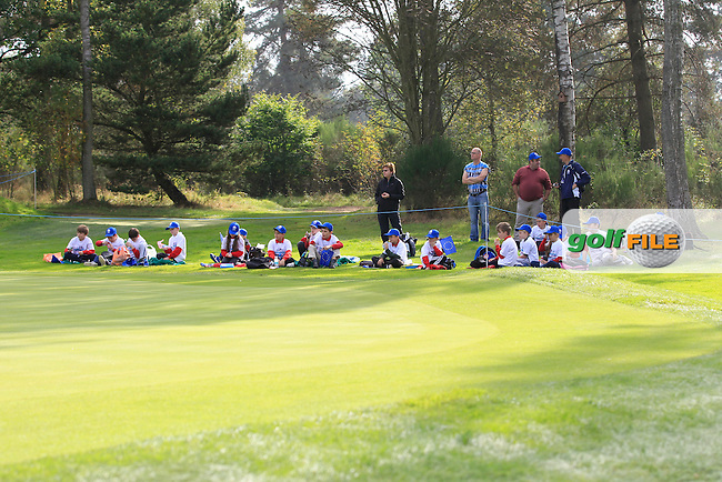Waiting at the 1st green during the Mixed Fourballs during the 2014 JUNIOR RYDER CUP at the Blairgowrie Golf Club, Perthshire, Scotland. Picture:  Thos Caffrey / www.golffile.ie