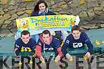DUCKS: Ellen McGillcuddy (teacher) with her Students from CBS THe Green, Tralee, Adam Barrett, Dylan Hartnett and Liam Cahill who were in training with thir Duck  on Monday at The Basin Tralee for the Duckathon which will be on Easter Saturday at The Basin, Tralee, at 1.30pm