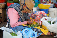 A elderly Peruvian woman removes the peas from their pods  at the produce market in Aguas Calientes, a quaint town on the Vilcanota River.  Visitors to Machu Picchu typically take the Perurail train into Aguas Calientes (from Cusco and Ollantaytambo) and then a short bus ride up to the Inca ruins.