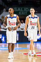 Real Madrid's players Dontaye Draper and Jaycee Carroll during match of Liga Endesa at Barclaycard Center in Madrid. September 30, Spain. 2016. (ALTERPHOTOS/BorjaB.Hojas) /NORTEPHOTO.COM