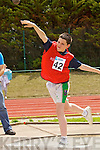 Marren May Kenmare in the finals of the Boys u-14 shot putt at the Kerry community games athlethics finals at an Riocht, Castleisland on Sunday.
