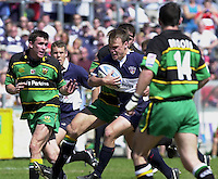 Sport , Rugby, Zurich Championship, 01/06/2002, Bristol v Northampton, Bristol's wing Phil Christophers charges through the the Siants defence.   [Mandatory Credit, Peter Spurier/ Intersport Images].
