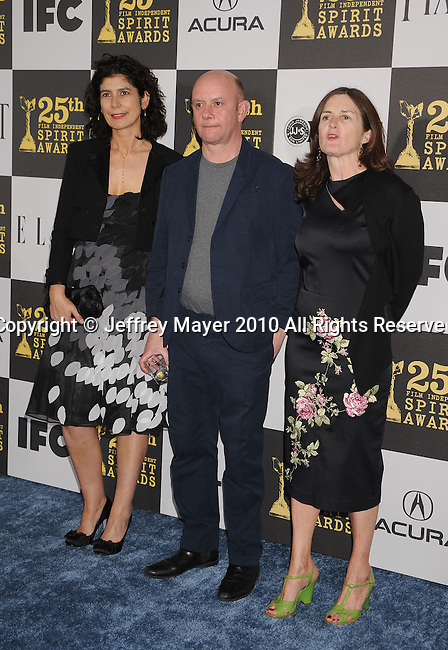 LOS ANGELES, CA. - March 05: Producer Amanda Posey, writer Nick Hornby and producer Finola Dwyer arrive at the 25th Film Independent Spirit Awards held at Nokia Theatre L.A. Live on March 5, 2010 in Los Angeles, California.
