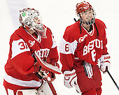 Erin O'Neil (BU - 31), Shannon Doyle (BU - 6) -  The Boston College Eagles defeated the visiting Boston University Terriers 5-0 on BC's senior night on Thursday, February 19, 2015, at Kelley Rink in Conte Forum in Chestnut Hill, Massachusetts.