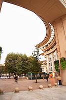 Ricardo Bofill architecture at Antigone. Montpellier. Languedoc. Mock roman style apartment block. France. Europe.