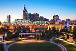 Nashville, Tennessee, Barge, Cumberland River, John Seigenthaler Pedestrian Bridge, Previously Called The Shelby Street Bridge, Riverfront Park