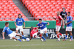 July 1 2007:  Sasha Victorine (9) of the Wizards and Maurice Edu (center) of Toronto FC both slide to capture a loose ball, as Wizards Nick Garcia (3), Kerry Zavagnin (5). Jose Burciaga Jr. (6), and Toronto FC player Danny Dichio (9) look on. The MLS Kansas City Wizards tied the visiting Toronto FC 1-1 at Arrowhead Stadium in Kansas City, Missouri, in a regular season league soccer match.