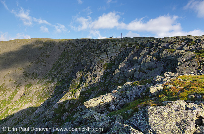 View of the Great Gulf headwall with Mount Washington at the top from along the Appalachian Trail in the White Mountains, New Hampshire USA during the summer months.
