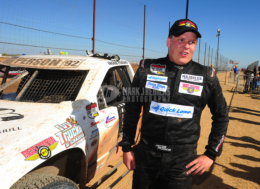 Apr 16, 2011; Surprise, AZ USA; LOORRS driver Jacob Person (92) after winning round 3 at Speedworld Off Road Park. Mandatory Credit: Mark J. Rebilas-.