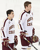 Johnny Gaudreau (BC - 13), Pat Mullane (BC - 11) - The Boston College Eagles and University of New Hampshire Wildcats tied 4-4 on Sunday, February 17, 2013, at Kelley Rink in Conte Forum in Chestnut Hill, Massachusetts.