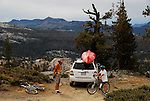 Mountain bicyclists near Ebbetts Pass