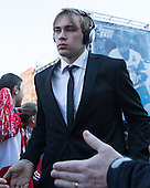 Ahti Oksanen (BU - 2) - The teams walked the red carpet through the Fan Fest outside TD Garden prior to the Frozen Four final on Saturday, April 11, 2015, in Boston, Massachusetts.