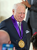 Mel Brooks, Actor, Comedian, & Writer of New York, New York, returns to his seat after receiving the 2015 National Medal of Arts from United States President Barack Obama during a ceremony in the East Room of the White House in Washington, DC on Thursday, September 22, 2016.<br /> Credit: Ron Sachs / CNP