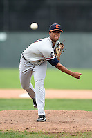 Connecticut Tigers pitcher Fernando Perez (31) delivers a pitch during the first game of a doubleheader against the Batavia Muckdogs on July 20, 2014 at Dwyer Stadium in Batavia, New York.  Connecticut defeated Batavia 5-3.  (Mike Janes/Four Seam Images)