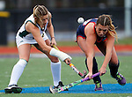EASTON, MA - NOVEMBER 20:  Mary Spisak (24) of Shippensburg University, right, and Abi Sawyer (17) of LIU Post battle for the ball during the NCAA Division II Field Hockey Championship at WB Mason Stadium on November 20, 2016 in Easton, Massachusetts.  Shippensburg University defeated LIU Post 2-1 for the national title. (Photo by Winslow Townson/NCAA Photos via Getty Images)