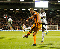 Sheyi Ojo of Fulham (on loan from Liverpool) closes down Stephen Kingsley of Hull City during the Sky Bet Championship match between Fulham and Hull City at Craven Cottage, London, England on 13 September 2017. Photo by Carlton Myrie.