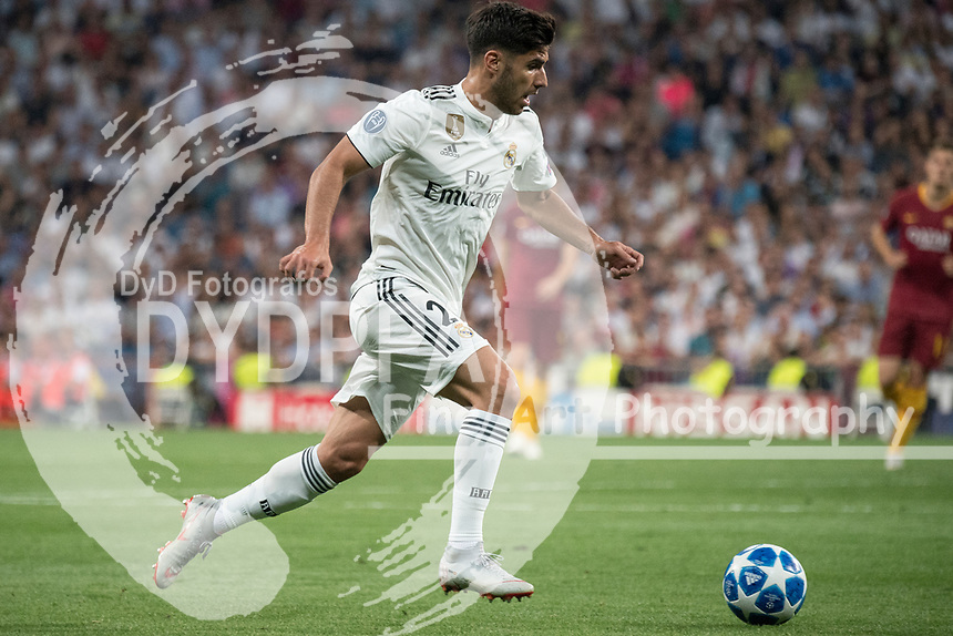 Uefa Champions League football match Real Madrid vs AS Roma at the Santiago Bernabeu stadium in Madrid on September 19, 2018.<br /> Marco Asensio
