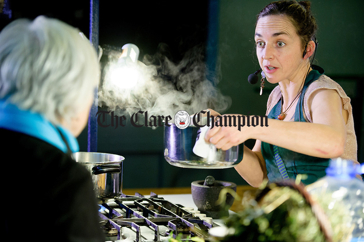 Cearbhuil Ni Fhionnghusa working on a herbal drink demonstration during the Burren Food Fayre in the Pavilion, Lisdoonvarna as part of the Burren Winterage Weekend. Photograph by John Kelly.