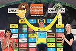 Race leader Yellow Jersey Jakob Fuglsang (DEN) Astana Pro Team wins the overall general classification at the end of  Stage 8 of the Criterium du Dauphine 2019, running 113.5km from Cluses to Champery, Switzerland. 16th June 2019.<br /> Picture: ASO/Alex Broadway | Cyclefile<br /> All photos usage must carry mandatory copyright credit (© Cyclefile | ASO/Alex Broadway)