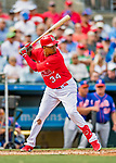 28 February 2019: St. Louis Cardinals fielder Yairo Munoz at bat during a Spring Training game against the New York Mets at Roger Dean Stadium in Jupiter, Florida. The Mets defeated the Cardinals 3-2 in Grapefruit League play. Mandatory Credit: Ed Wolfstein Photo *** RAW (NEF) Image File Available ***