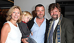 Laurie Eustis, Liev Schreiber with son Alexander and Oskar Eustis  attending the Unveiling of the Revitalized Public Theater at Astor Place in New York City on 10/4/2012.