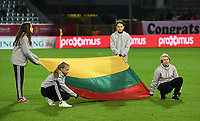 20191112 - LEUVEN , BELGIUM : illustration picture shows the Lithuanian flag ahead of the female soccer game between the Belgian Red Flames and Lithuania , the fourth womensoccer game for Belgium in the qualification for the European Championship round in group H for England 2021, Tuesday 12 th November 2019 at the King Power Stadion Den Dreef in Leuven , Belgium. PHOTO SPORTPIX.BE | DAVID CATRY