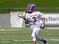 TD Ierlan (#3) attacks after a faceff win as UAlbany Lacrosse defeats Vermont 14-4  in the American East Conference Championship game at Casey Stadium, May 5.