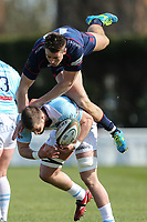Jason Harries of London Scottish challenges for the ball during the Greene King IPA Championship match between London Scottish Football Club and Bedford Blues at Richmond Athletic Ground, Richmond, United Kingdom on 25 March 2017. Photo by David Horn / PRiME Media Images.